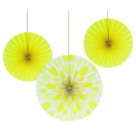 Hanging Decorations-Paper Fans-Yellow-3 Count