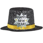 Mini Top Hat - Happy New Year Black
