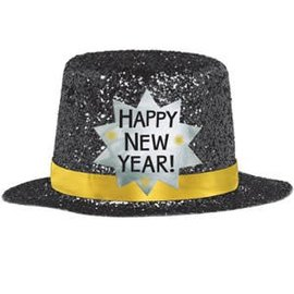 Mini Top Hat - Happy New Year Black