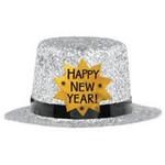 Mini Top Hat - Happy New Year Silver
