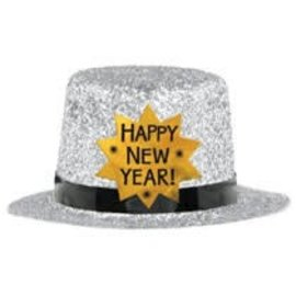 Mini Top Hat - Happy New Year Silver
