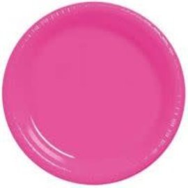 "Plates - Plastic - Bright Pink  - 9"" - 20pkg"