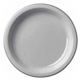 """Plastic Plates 20pc Silver 9"""""""