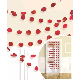Garland - Red Glitter Dots- 6pcs