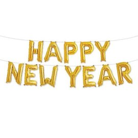 Foil Air Balloon - Happy New Year - Gold Banner