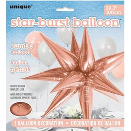 Star-Burst Foil Balloons (Air Fill Only) Rose Gold Jumbo