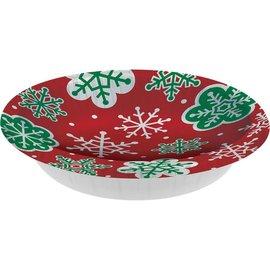 Bowls - Red Green Snowflakes - 8pk