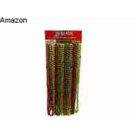 Bead Necklaces-Red, Green, Gold (24pk)
