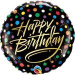 "Foil Balloon - Happy Birthday Black Polka 18"""