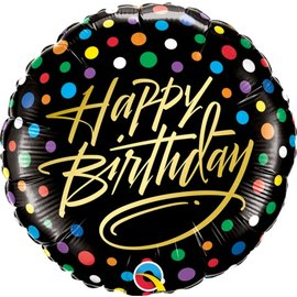 Foil Balloon - Happy Birthday Black Polka 18""
