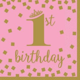 Luncheon Napkins- Gold 1st Bday Girl/Final Sale