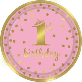 Luncheon Plates- Gold 1st Bday Girl