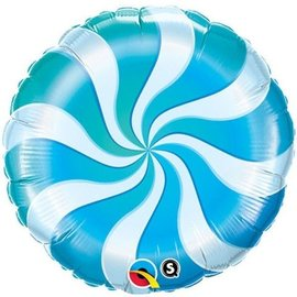"Foil Balloon - 18"" - Blue Candy Swirl"