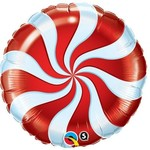 """Foil Balloon - 18"""" - Red Candy Swirl"""