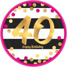 Plates Bev - Pink and Gold Milestone 40 Round Metallic