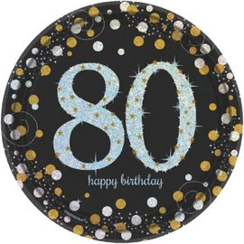 Beverage Plates- Sparkling Birthday 80th