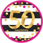 Beverage Plates- Pink and Gold Milestone 50