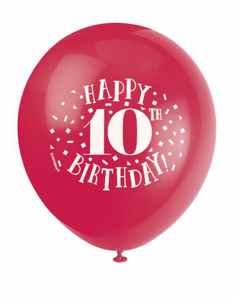 Balloons Latex Happy 10th Birthday 128PK