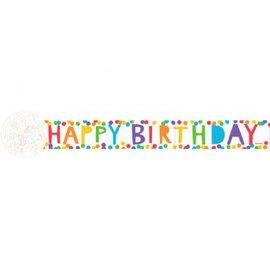 Paper Crepe Streamer - 81' Happy Birthday Rainbow