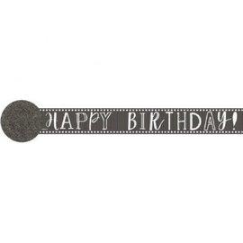 Paper Crepe Streamers- 81' Happy Birthday Chalk