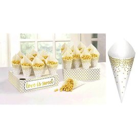 Treat Cones with Tray  - Paper (40 Pcs)
