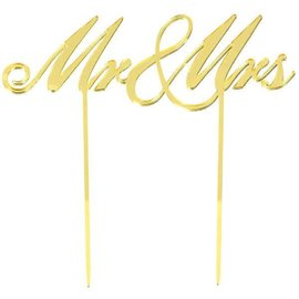 Cake Topper Mr. & Mrs. Gold