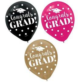 """Balloons- Latex- Congrats Grad!- 12"""""""