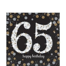 Napkins - LN - 65th Sparkling Celebration -16pkg - 2ply