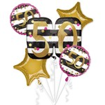Foil Balloons - 50th Birthday - 5 pk Bouquet - Pink & Gold