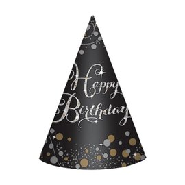 Hats- Cones- Happy Birthday Sparkling Celebration- 8pcs- Paper