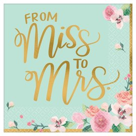 Lunch Napkins- From Miss To Mrs- Mint To Be-16pk/2ply