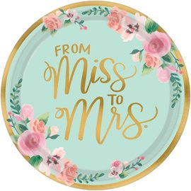 """Dinner Paper Plates- From Miss To Mrs- Mint To Be- 8pk/10.5"""""""
