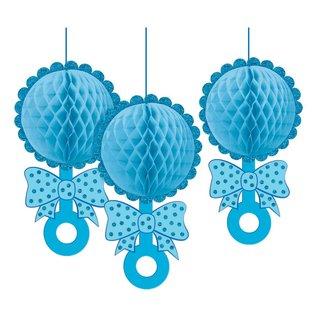 Hanging Decoration- Honeycomb Rattles- Glitter- Baby Boy- 3pcs