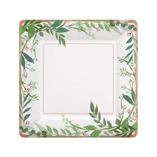 Plates- LN- Square- Love and Leaves- 8pk/7""