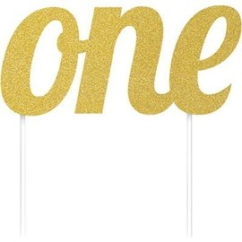 Cake Topper-One-Glitter-Gold
