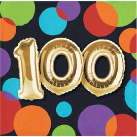 Beverage Napkins-100th Balloon Birthday - Discontinued