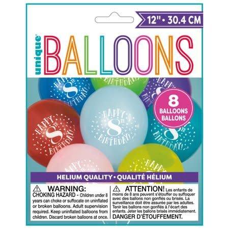 Balloons Latex Happy 8th Birthday 128PK