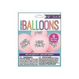 Balloons-Latex-Baby Shower Pink- 8pk- 12""