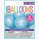 "Ballons - Latex - 1st Birthday - 8pk- 12"""