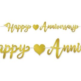 Banner Happy Anniversary - Gold