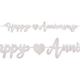 Banner Happy Anniversary - Silver