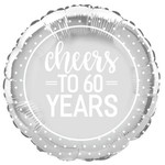 """Foil Balloon- Cheers to 60 Years- 18"""""""
