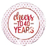 """Foil Balloon- Cheers to 40 Years- 18"""""""