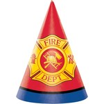 Hats-Cone-Flaming Fire Truck-8pk