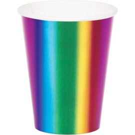 Cups - Paper Rainbow Foil ( 8PK )- Discontinued