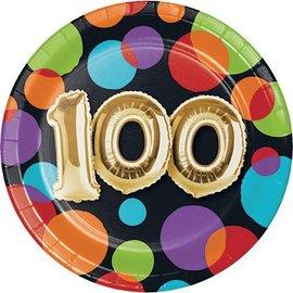 Plates Bev 100balloon Birthday - 8 Pk - Discontinued