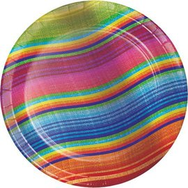 "Beverage Paper Plates- Serape-Mexican- 8pk/7"""