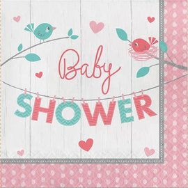 Luncheon Napkins- Baby Shower Hello Baby Girl- 16pk-2ply