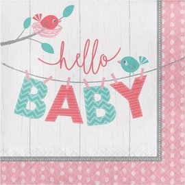 Luncheon Napkins- Hello Baby Girl- 16pk-2ply