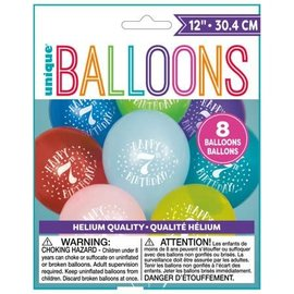 "Balloons - Latex - Happy 7th Birthday - 12"" (8PK)"